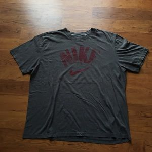 Grey and red Nike tee